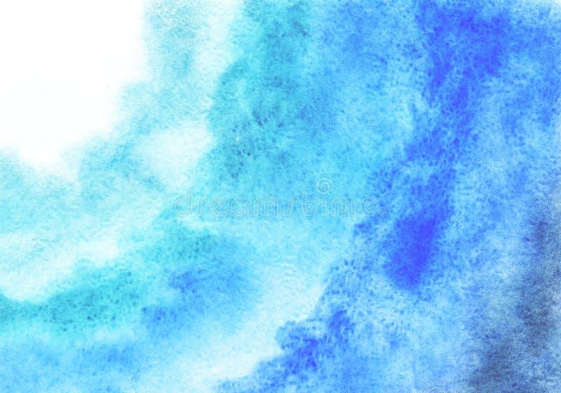 Vattenfärgbakgrund som drar vid handen med bilden av blåa fläckar med en lutning För design av bakgrunder räkningar, packar, vektor illustrationer