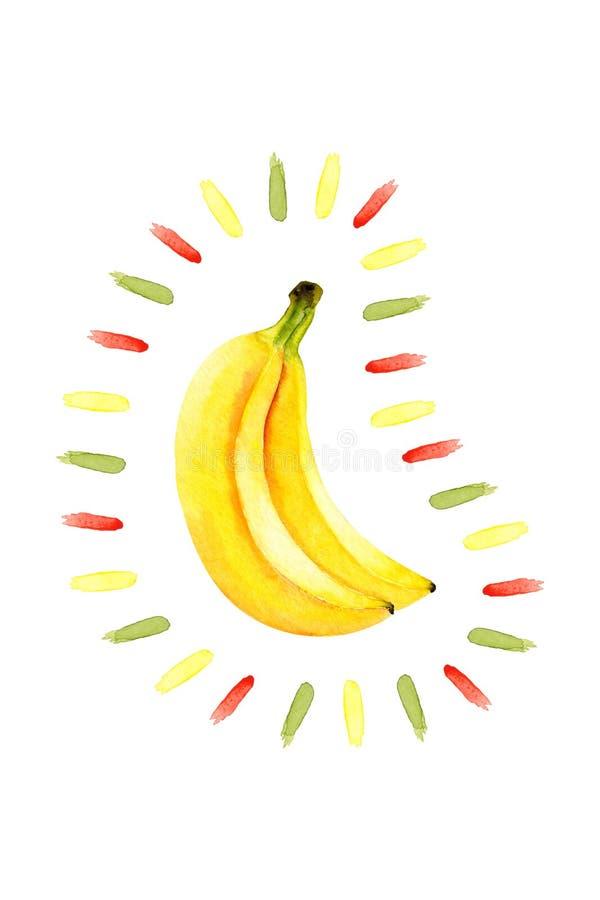 Vattenfärgbananer och abstrakta färgfläckar Isolerad ljus illustration på vitt Handmålade frukter och penseldrag royaltyfri illustrationer