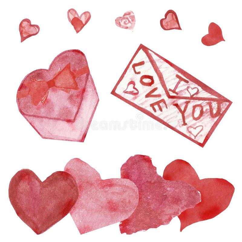Vattenfärgbaner, röda hjärtor och kuvert som isoleras på vit bakgrund Hand som målas för lyckliga valentin dag Lyckönskan t stock illustrationer