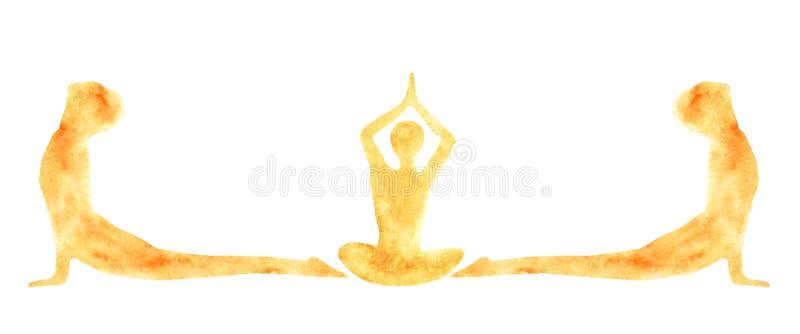Vattenfärgbanret av konturer av övande yogaasanas för folk poserar Suri Namaskar royaltyfri illustrationer