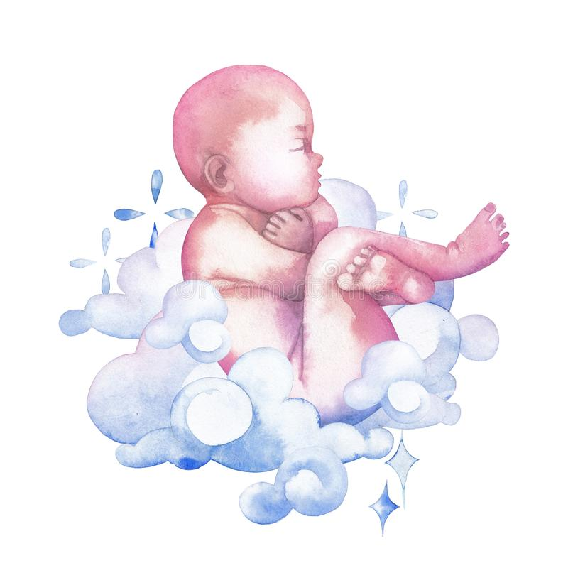 Vattenfärgbarnet som omges av moln och, mousserar royaltyfri illustrationer