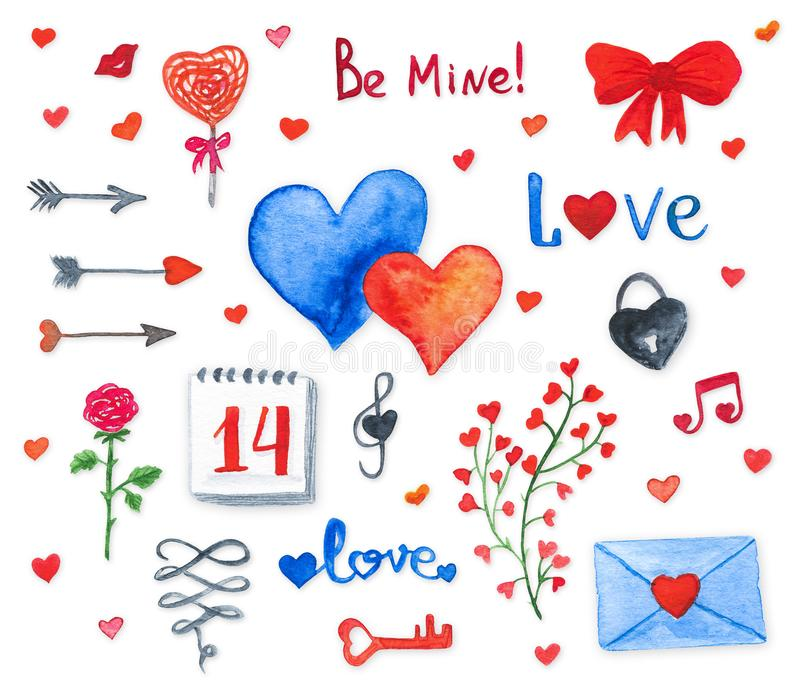 Vattenfärgbeståndsdelar av den lyckliga valentindagen royaltyfri illustrationer