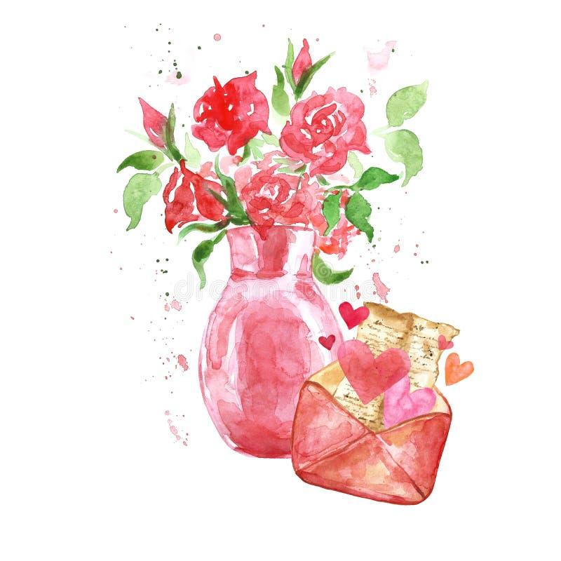 Vattenfärgbeståndsdeluppsättning för valentindag hand målad blom- bukett med röda rosor i vas vektor illustrationer