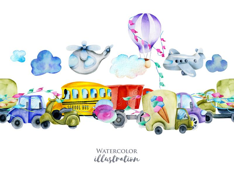 Vattenfärgbilar och sömlös gräns för flygtransport stock illustrationer