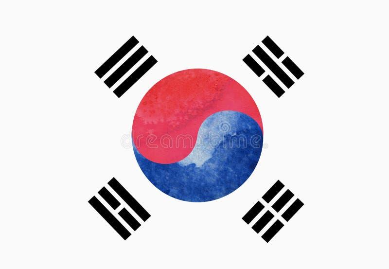 Vattenfärgbild av den Sydkorea flaggan vektor illustrationer