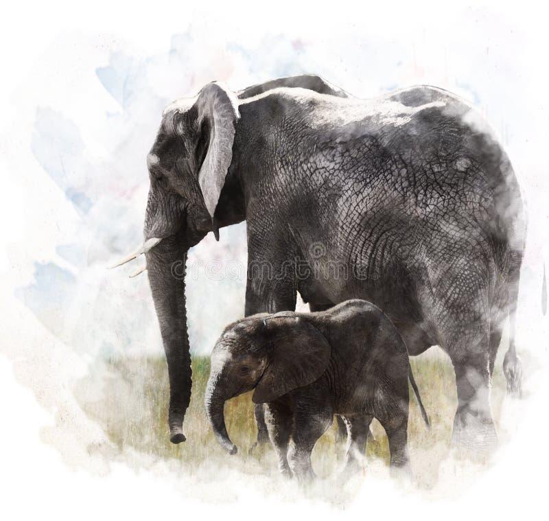 Vattenfärgbild av elefanter vektor illustrationer