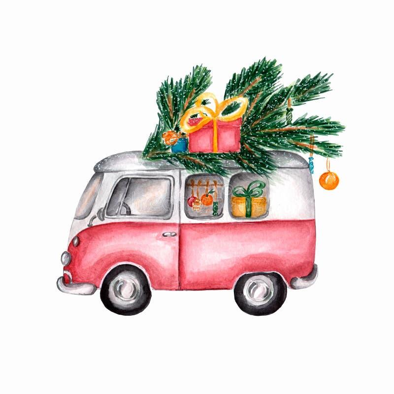 Vattenfärgbild av jultappningbussen Den röda retro bil-bussen bär julgåvor Vattenfärgillustration av jultomtenbussen stock illustrationer