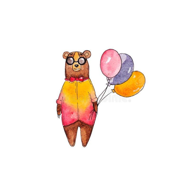 Vattenfärgbjörnillustration Hipsterbjörn med partiballonger vektor illustrationer