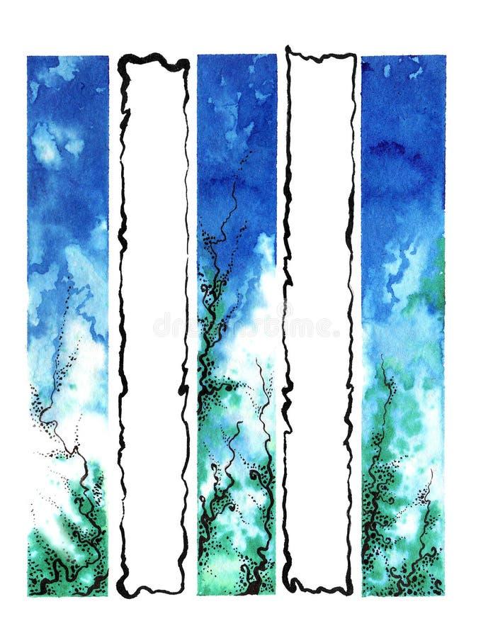 Vattenfärgblått-gräsplan abstrakt begrepp royaltyfri foto