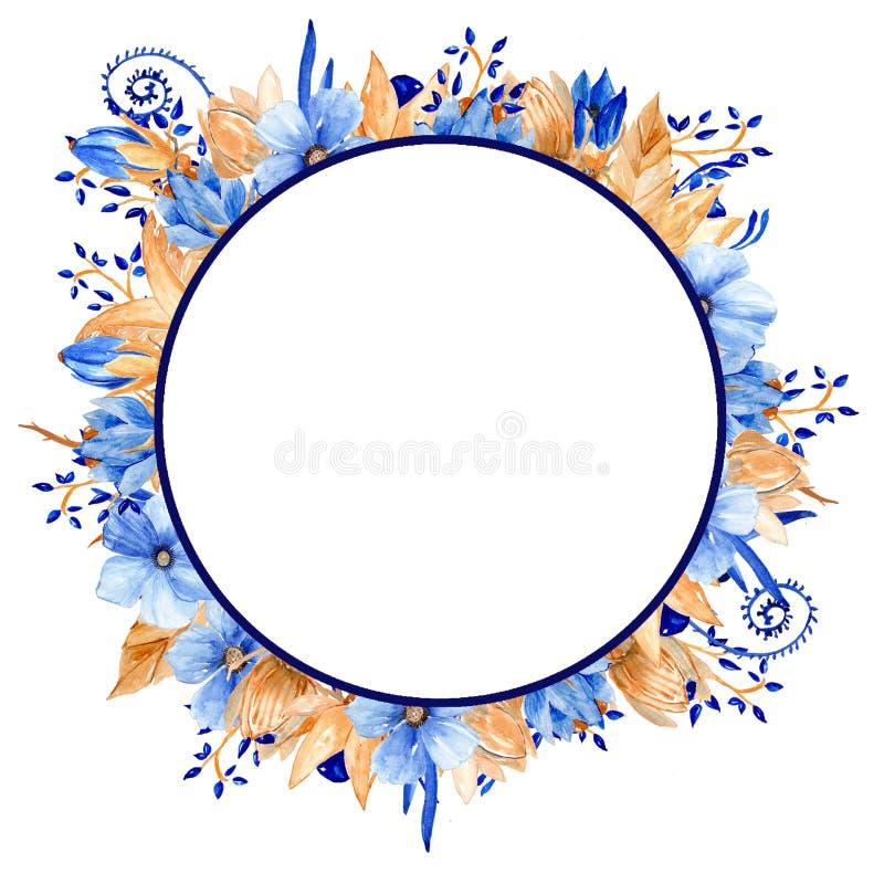 Vattenfärgblått och guld- blom- ram Blå elegant vattenfärgram för guld! fotografering för bildbyråer