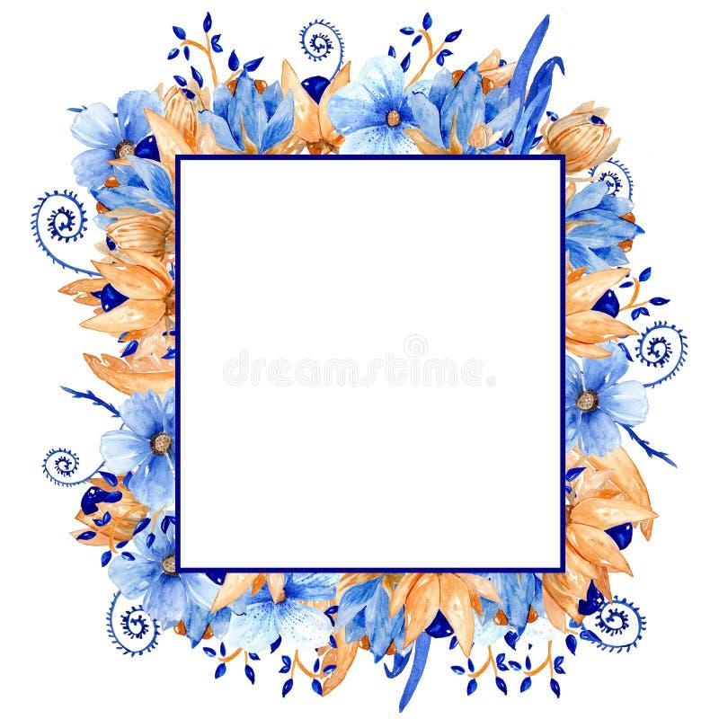 Vattenfärgblått och guld- blom- ram Blå vattenfärgram för guld! royaltyfria bilder