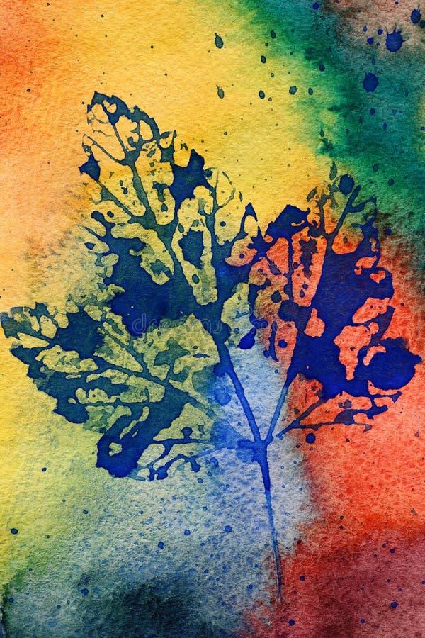 Vattenfärgblad vektor illustrationer