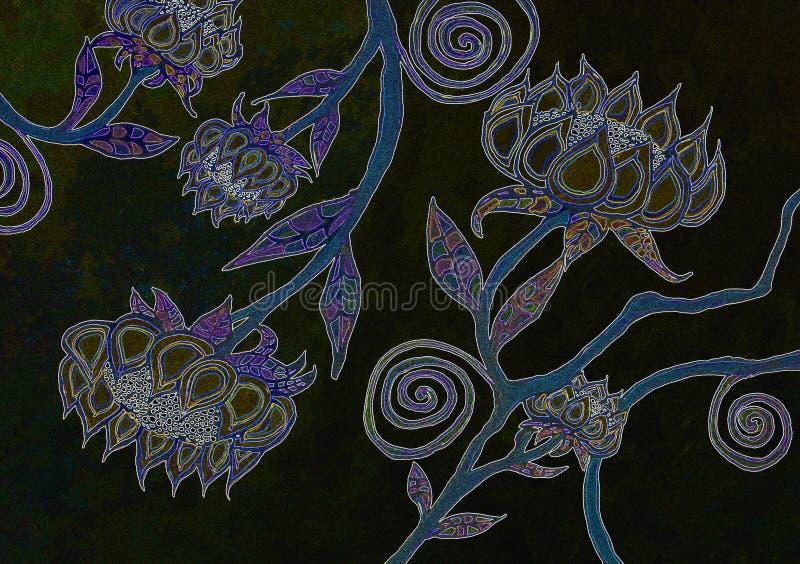 Vattenfärgblomma Art Backgrounds i svart royaltyfri fotografi