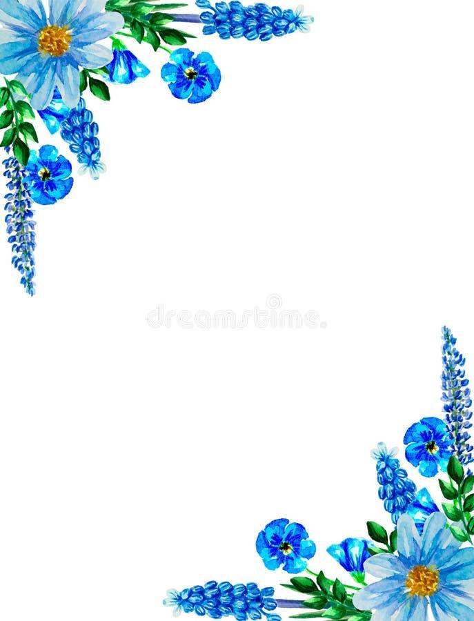 Vattenfärgblomma, blom- illustration, blad och knoppar, sammansättningslagerbana, bakgrund för att gifta sig hälsningkortet royaltyfri bild