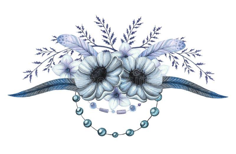 Vattenfärgblommabukett med blåa blommor royaltyfri illustrationer