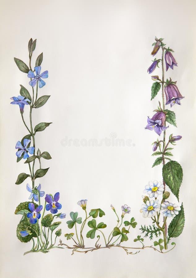Vattenfärgblommaram royaltyfri illustrationer