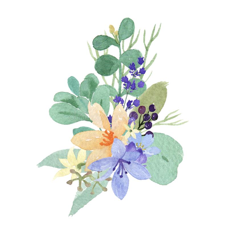 Vattenfärgblommor med textbanret, den frodiga blommaaquarellehanden målade isolerat på vit bakgrund Designgräns för kortet, sav stock illustrationer