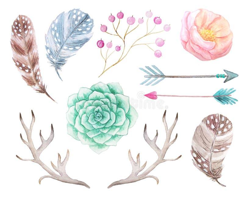 Vattenfärgbohouppsättning av blommor och horn på kronhjort vektor illustrationer