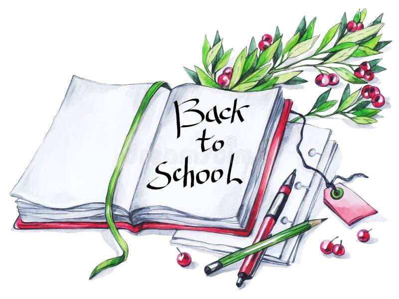 Vattenfärgbok, penna, blyertspenna, blom- och text Kalligrafiord tillbaka till skolan Tappningutbildningsbakgrund Symbol av royaltyfri illustrationer