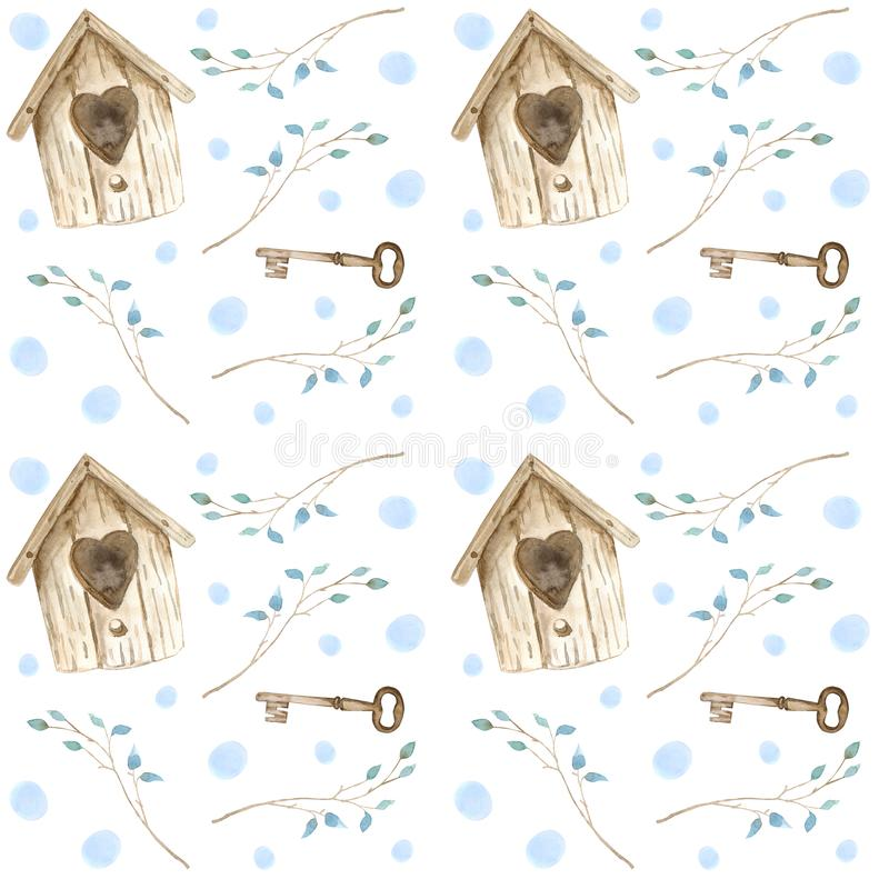 Vattenfärgbruntvoljär, ris med tangenter seamless modell royaltyfri illustrationer