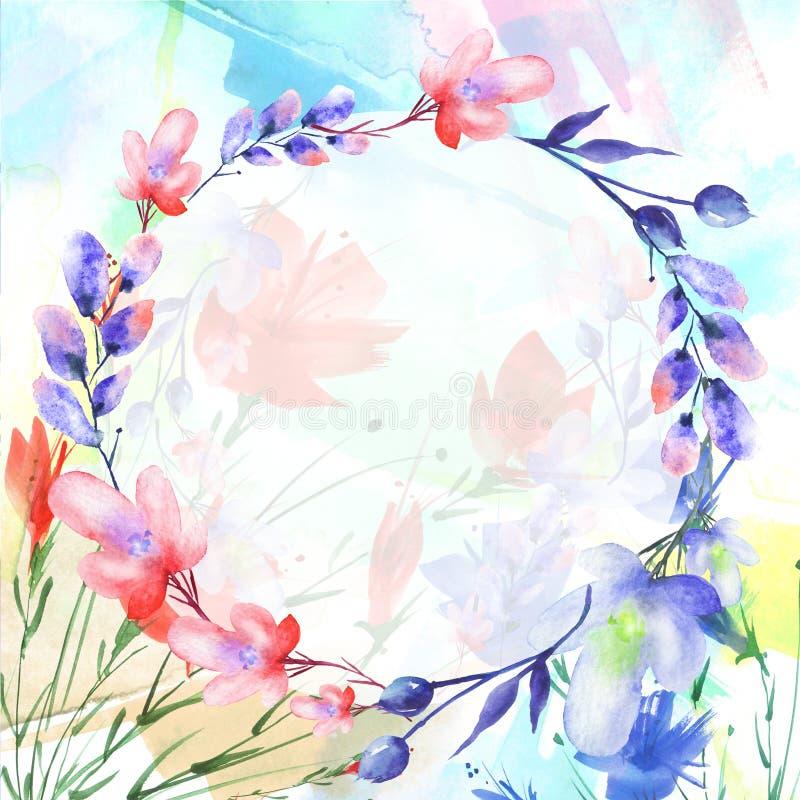 Vattenfärgbukett av blommor, härlig abstrakt färgstänk av målarfärg, pil, vallmo, kamomill vektor illustrationer