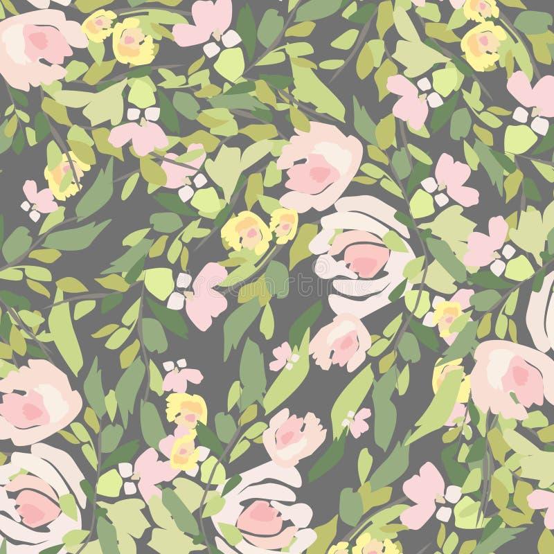 Vattenfärgbukett av blommor Hand målad färgrik blom- sammansättning som isoleras på vit bakgrund stock illustrationer