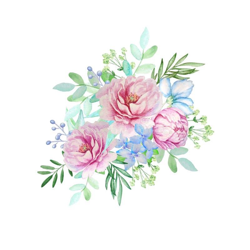 Vattenfärgbukett av rosa pioner royaltyfri illustrationer
