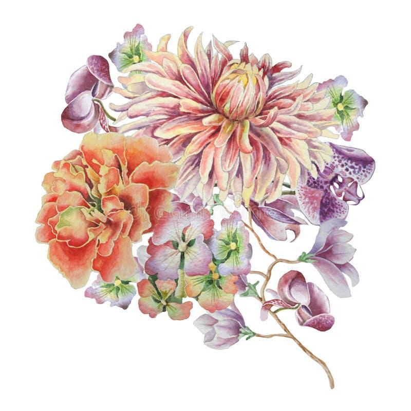 Vattenfärgbukett med blommor dahlia ringblomma Orkidé royaltyfri illustrationer