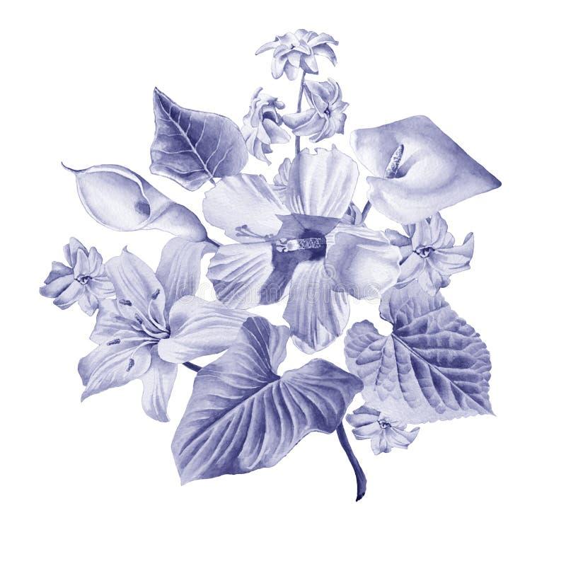 Vattenfärgbukett med blommor lilja calla hibiskus royaltyfri illustrationer