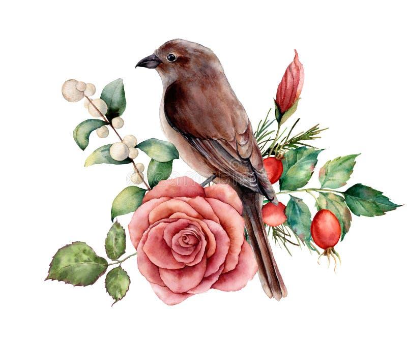 Vattenfärgbuketten med fågeln och steg Handen målade blom- illustrationen med rosa färger blommar, dogrose, snowberries, sidor royaltyfri illustrationer