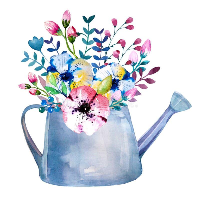 Vattenfärgbuketter av blommor i kruka lantligt vektor illustrationer