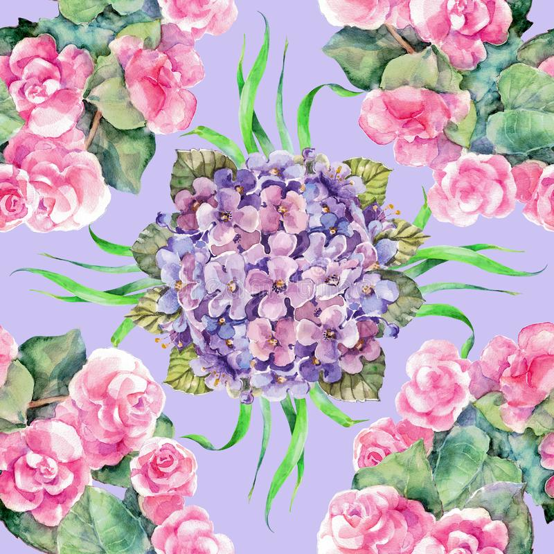 Vattenfärgbukettrosor och vanlig hortensia på violett bakgrund seamless modell stock illustrationer