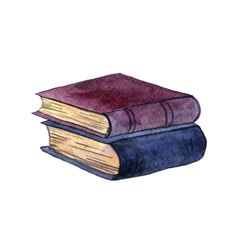 Vattenfärgbunt av den gamla boken royaltyfri illustrationer