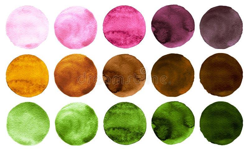 Vattenfärgcirklar i skuggor av för rosa färger, röda och bruna färger för gräsplan som, isoleras på vit bakgrund stock illustrationer