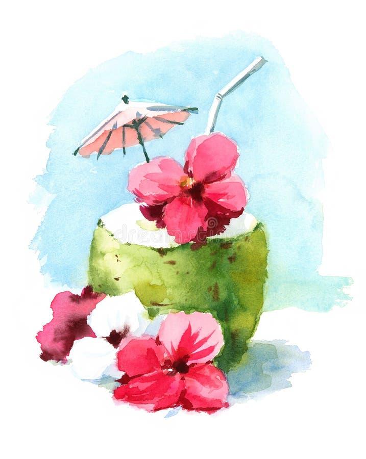 Vattenfärgcoctaildrink i illustration för sommar för kokosnötShell Hand Painted Beach Tropical karibisk semester stock illustrationer