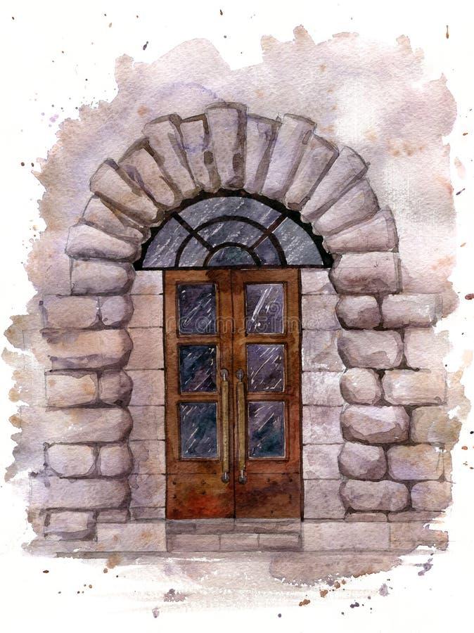 Vattenfärgdörr i stenvägg royaltyfri illustrationer