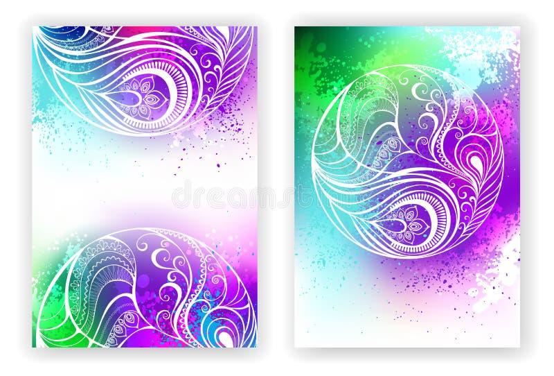 Vattenfärgdesign med den abstrakta fjädern vektor illustrationer