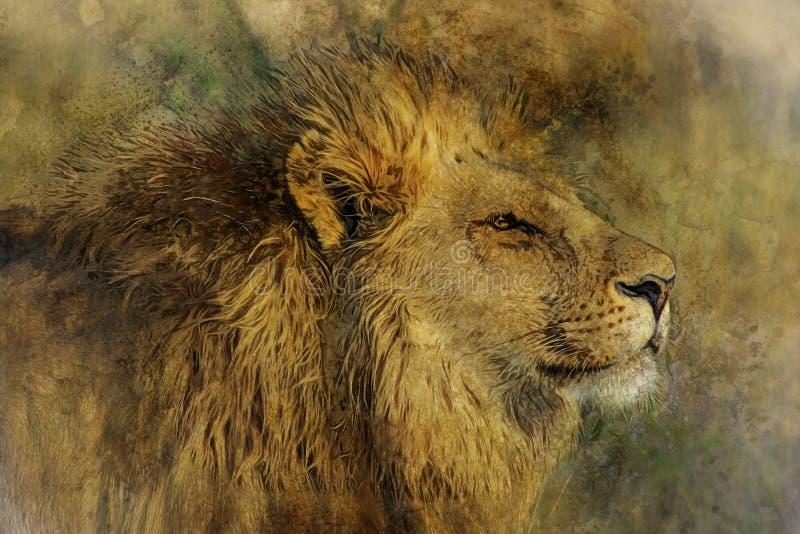 VattenfärgDigital målning av Lion Head royaltyfri illustrationer