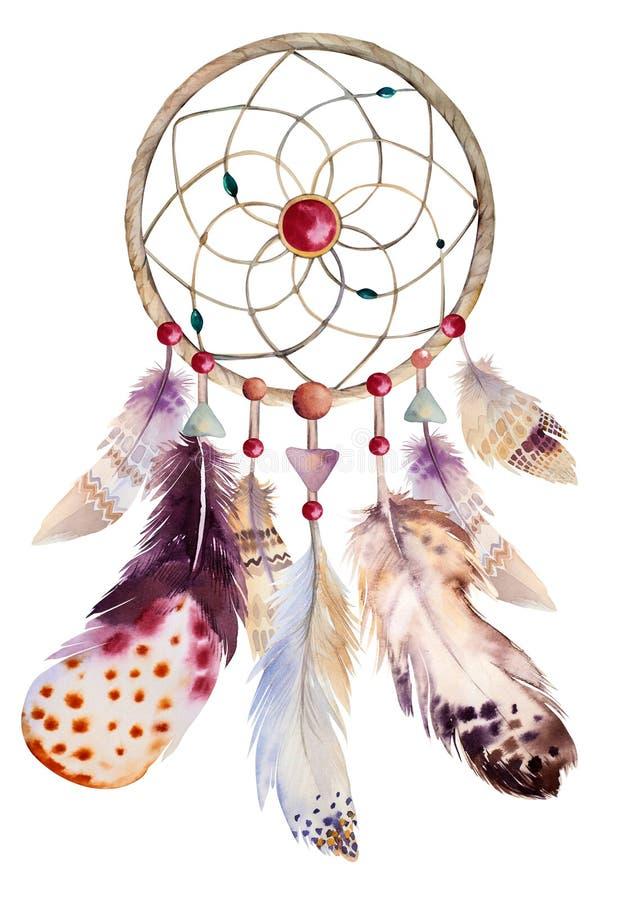 Vattenfärgdreamcatcher med pärlor och fjädrar stock illustrationer