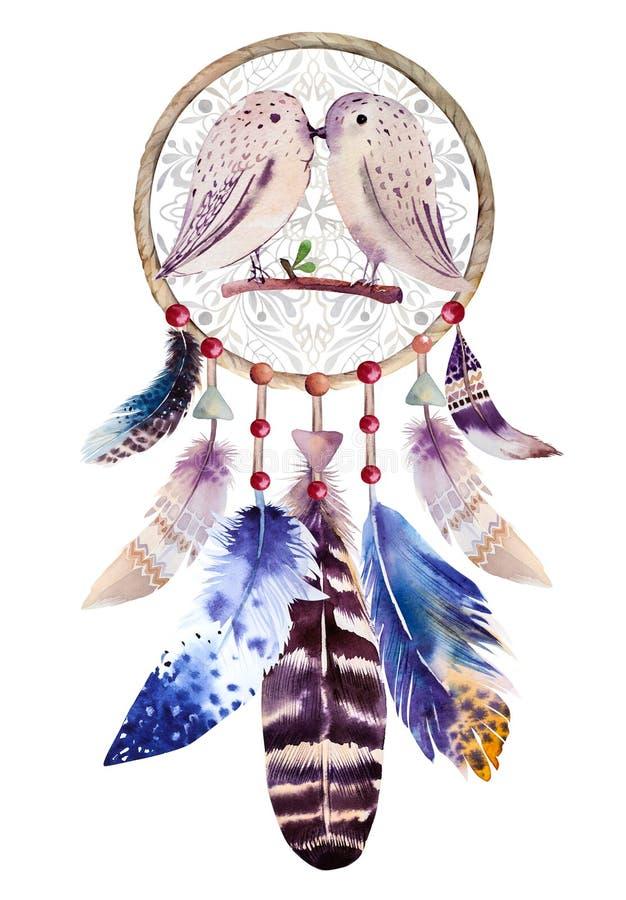 Vattenfärgdreamcatcher med pärlor och fjädrar royaltyfri illustrationer