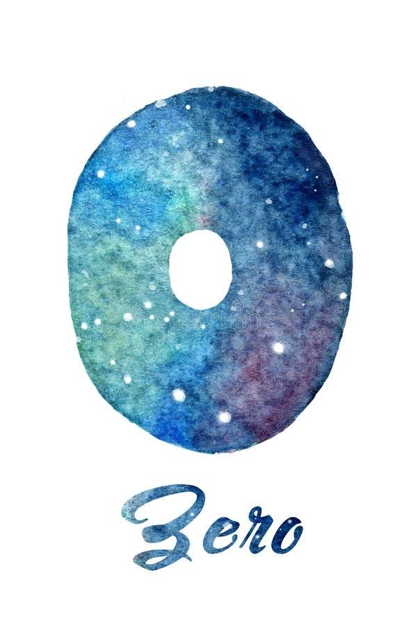 """Vattenfärgen av galaxen eller natthimmel med stjärnor numrerar """"Zero"""" royaltyfri illustrationer"""