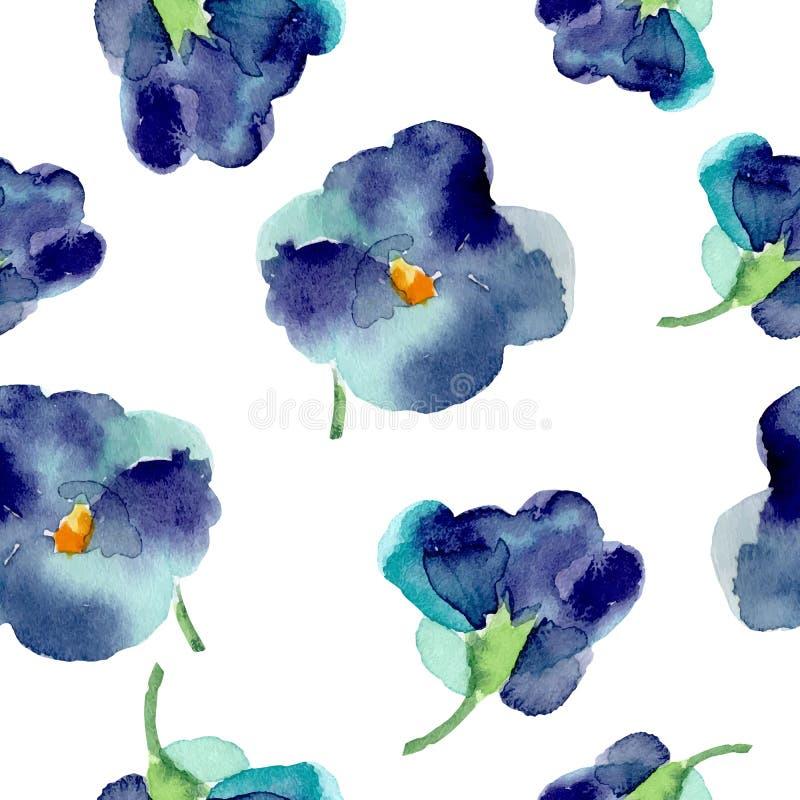 Vattenfärgen av violeten blommar den sömlösa modellen royaltyfri illustrationer