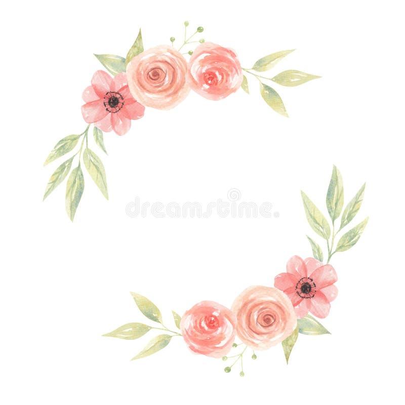 Vattenfärgen blommar Garland Floral Peach Coral Painted kranssidor stock illustrationer