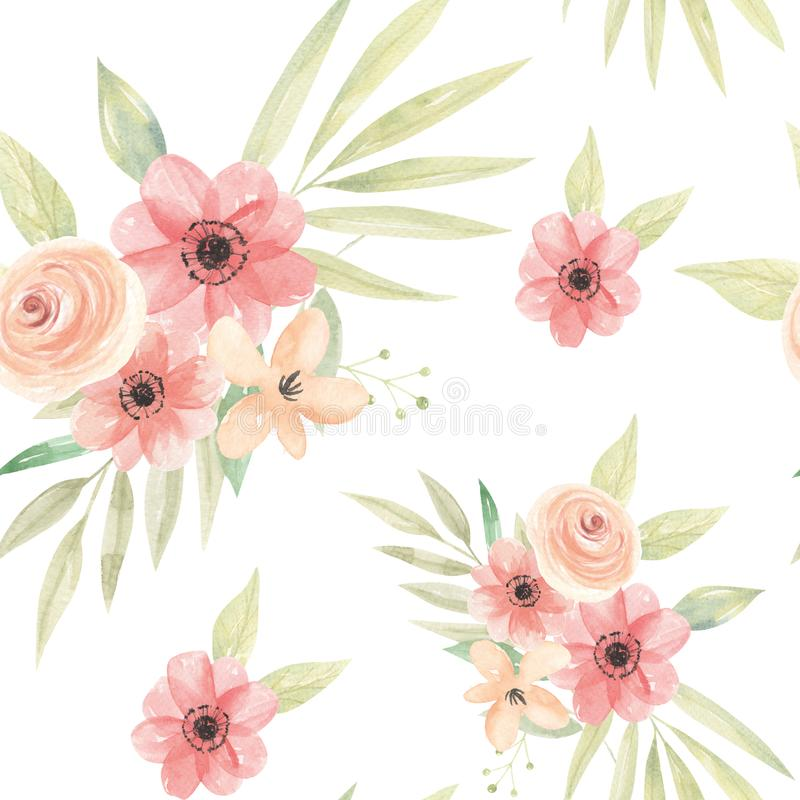 Vattenfärgen blommar persikaCoral Floral Seamless Pattern Arrangement sidor royaltyfri illustrationer