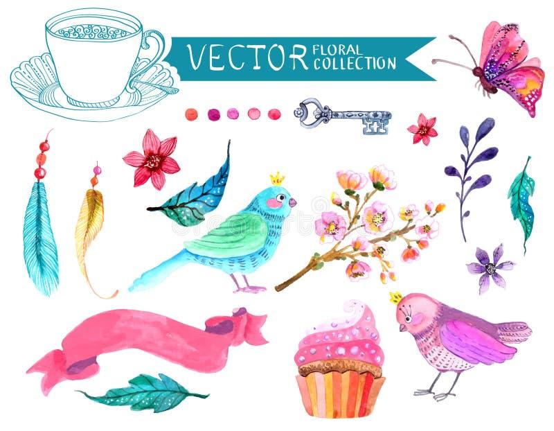 Vattenfärgen blommar samlingen stock illustrationer