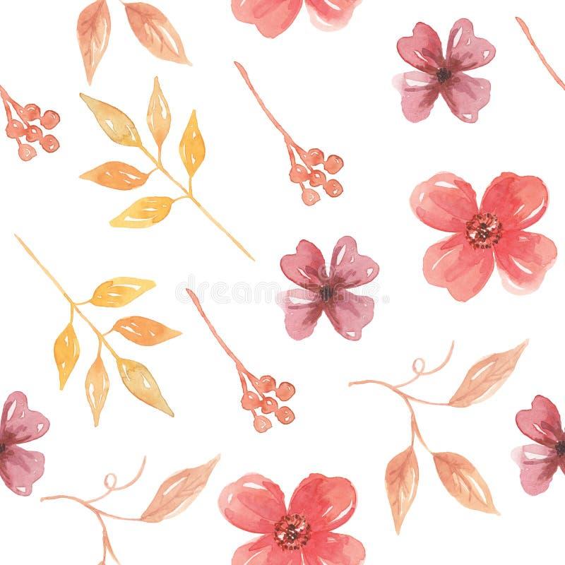 Vattenfärgen blommar sommar för vår för blad för sömlös modell för sidor individuell stock illustrationer