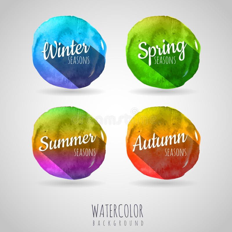 Vattenfärgen cirklar bakgrund säsonger royaltyfri illustrationer