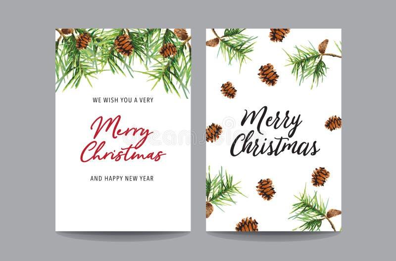 Vattenfärgen för julhälsningkortet ställde in på vit bakgrund Glad julkort också vektor för coreldrawillustration royaltyfri bild