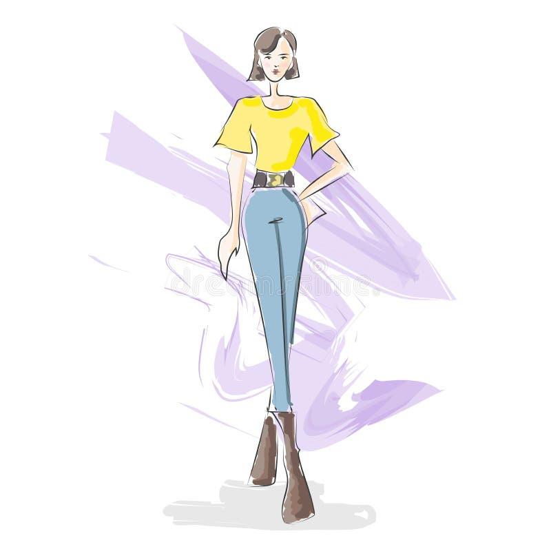 Vattenfärgen för modedesignillustrationen skissar Autumn Fashion vektor illustrationer