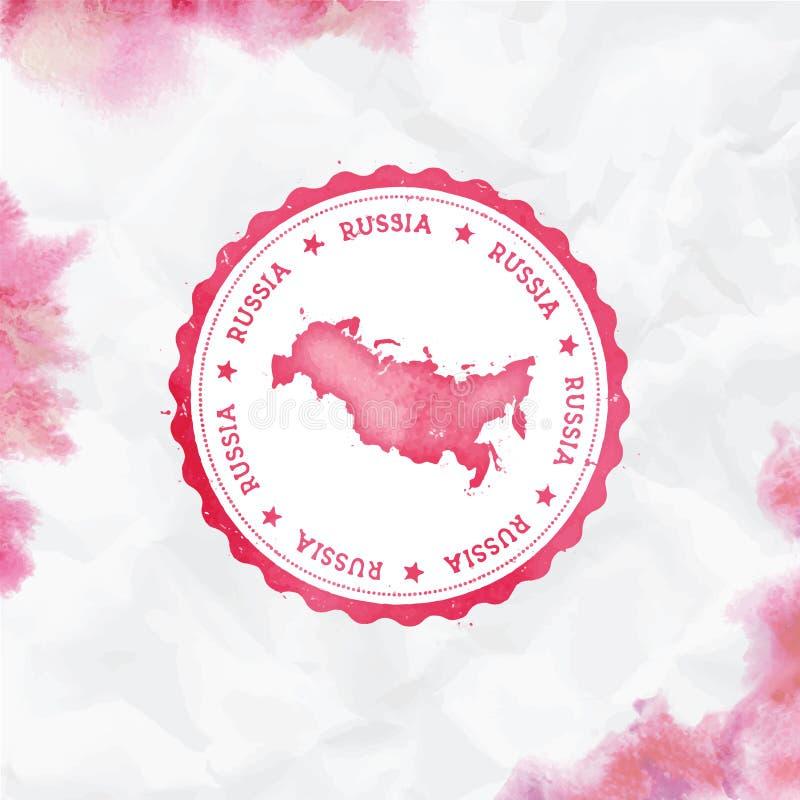 Vattenfärgen för rysk federation rundar gummistämpeln royaltyfri illustrationer